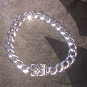 Chrome hearts .925 sterling cross button bracelet